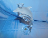 C2- Bleikristall Germany Lead Crystal Dolphin Candle Holder