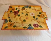 D Oneida Kitchen Hand Painted Sunset Bouquet Super Large Serving Tray Vibrant Bold Eye Catching