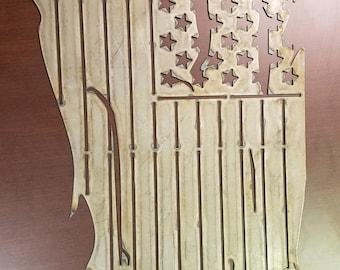 "Tattered American Flag Steel Cutout 35"" x 19"""