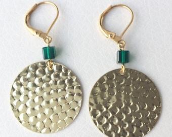 Earrings, gold, sequins, prints, Swarovski Crystal, Emerald
