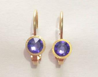 Earrings, gold, Swarovski Crystal, Rhinestones, glamorous, sleeper, tanzanite, purple