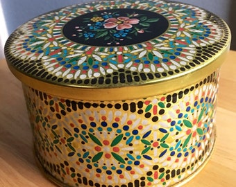 Vintage Embossed Floral Tin, Made in Belgium