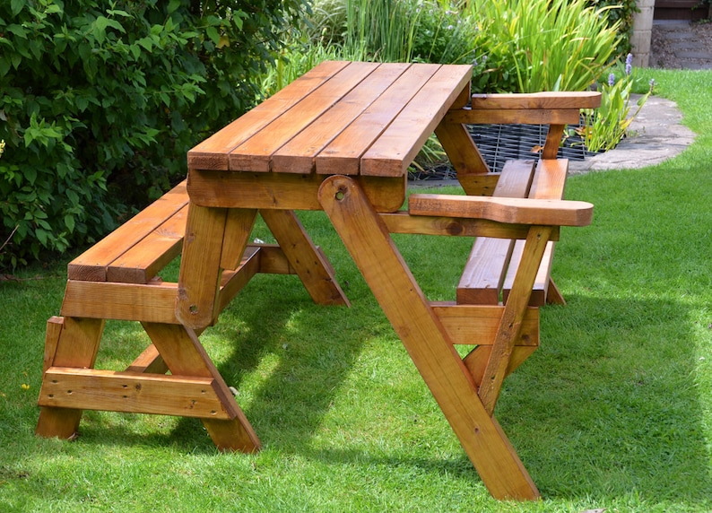 Folding Picnic Table Bench Plans Patio Furniture Etsy