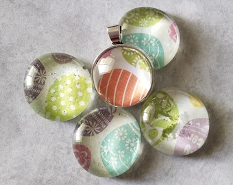 Patterned Easter Egg Decorated Pendants, Magnets, Cabochon Necklace