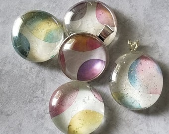 Watercolor Easter Egg Decorated Pendants, Magnets, Cabochon Necklace