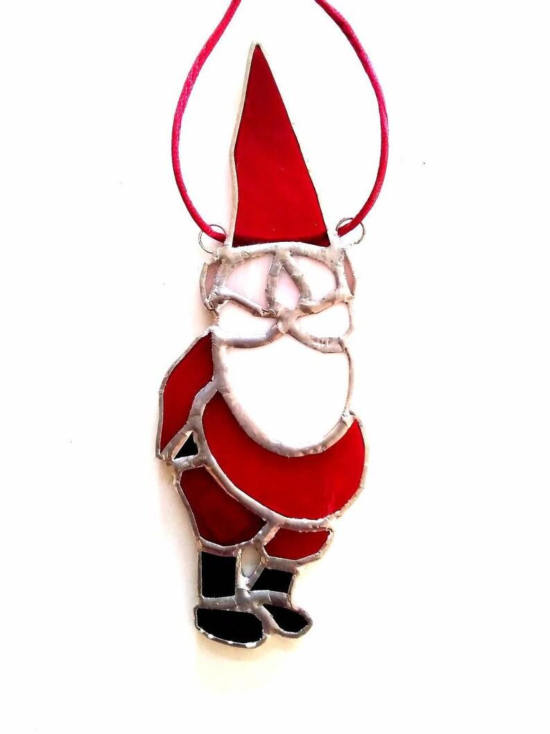 Christmas ornament Vitraux de Noel Stained glass Santa Claus suncatcher Window hanging Christmas decor Jolly Old Saint Nickolas ornament