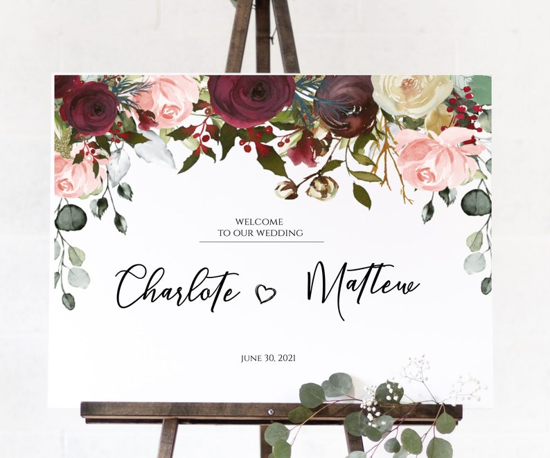 Wedding Suite Wedding Sign Bundle Eucalyptus, Printable Wedding Invite Suite Wedding Package ETHEL-Burgundy Wedding Template Bundle