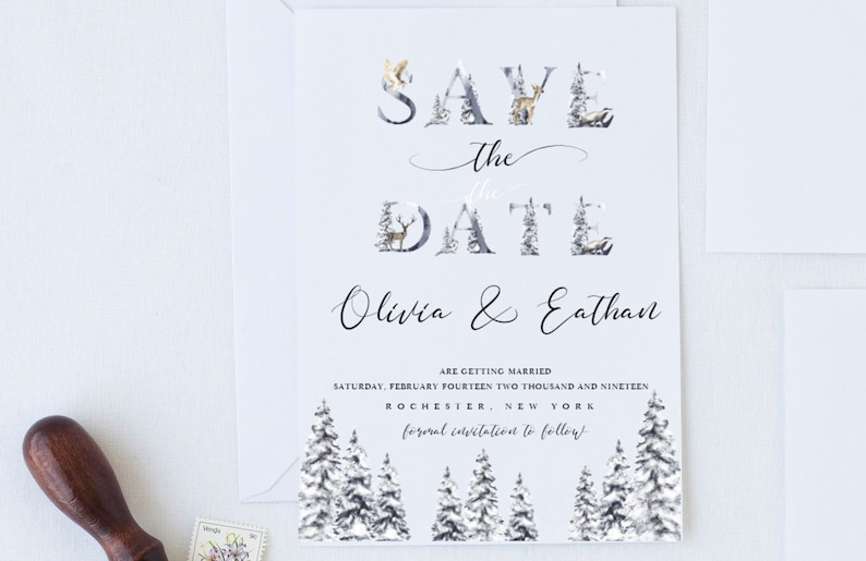 Editable template Forest animals Nathalie-Winter Save the Date Template Forest Wedding Save the Date Silver Pine tree Save the date