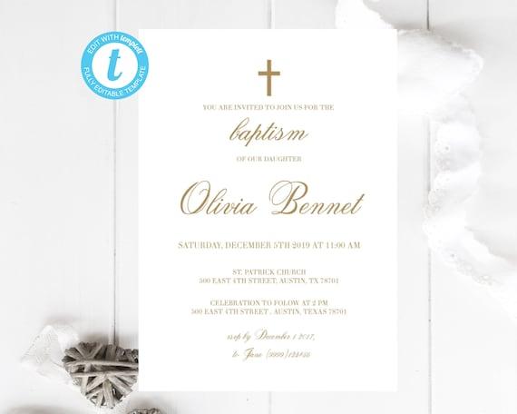 invitacion de bautizo golden invitaciones bautizo editable