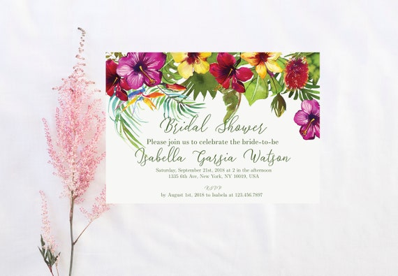 Tropical bridal shower invitation tropical shower luau bridal etsy image 0 filmwisefo