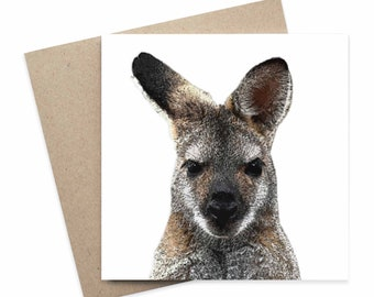Peter / Wallaby Australian Animal Greeting Card / Digital Artwork