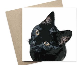 Merlin / Black Cat Greeting Card / Pet Greeting Card / Digital Artwork