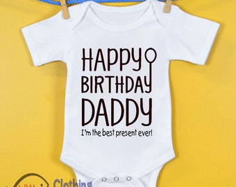 Happy Birthday Daddy Cute Baby Vest Grow Bodysuit Present Dad Father Boys Girls