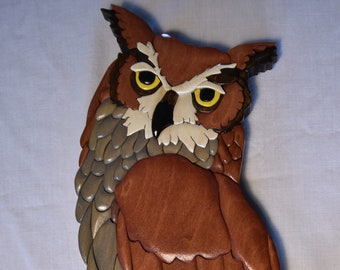 Wood Intarsia Great Horned Owl