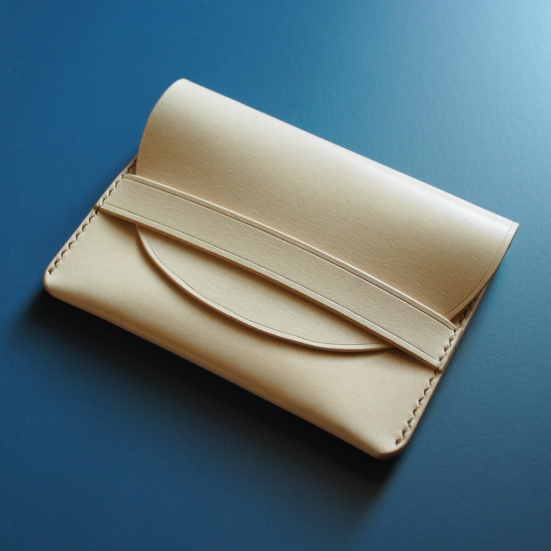 Handmade card case coin purse natural genuine leather