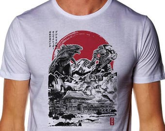 Attack on Japanese Temple T-Shirt -  Godzilla T-shirt - Jaeger T-shirt - Pacific Rim Tee - Monster Teeshirt - Kaiju Shirt - Japanese T-shirt