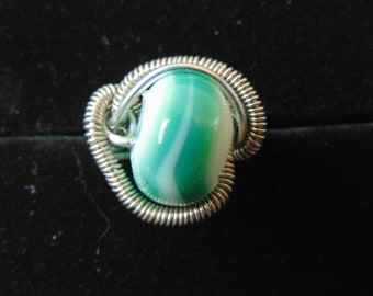 Wire wrapped blue/white glass bead ring