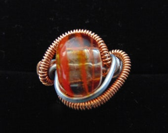 copper/silver wire wrapped glass bead ring