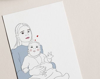 Custom Personalised Line Illustration - family, couples, friends, kids