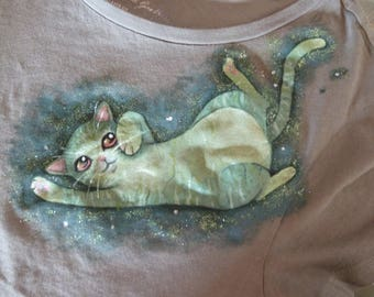 Hand painted cat T-shirt