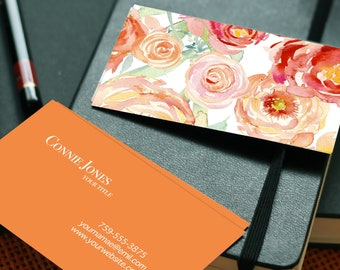 Orange Floral Watercolor Business card Template (Printable Business Cards, Premade Business Cards, Professional Business Cards)