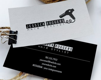 premade hairstylist business card template front and back card salon vintage modern design beauty print digital - Salon Business Cards