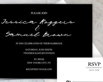 Custom Modern Classic Wedding Invitation Suite Template, Change Colors, Make your own (Printable, Premade, Download)