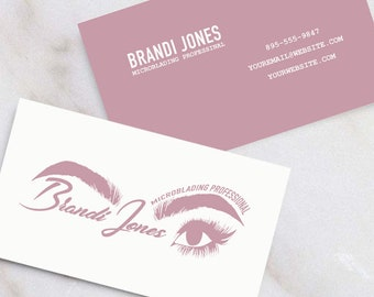 Business card logo etsy microblading logo and business card suite download template print yourself beauty professional esthetician colourmoves
