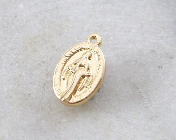 Small Oval Gold Rhodium Plated Virgin Mother Mary Miraculous Medal Delicate Charm Pendant Medallion