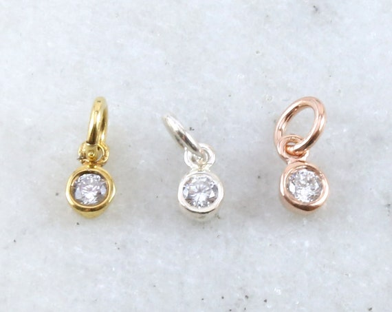 Tiny Dainty Sterling Silver, Vermeil, Rose Gold Plated CZ Cubic Zirconia 3mm Charm Drop Round Small April Birthstone
