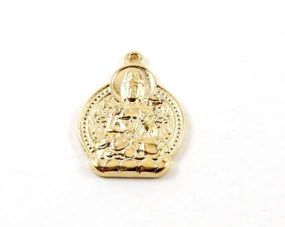 Vermeil Gold Double Sided Buddha Sitting Yoga Charm with Detailed Back Ohm Meditation Mantra Pendant in Vermeil