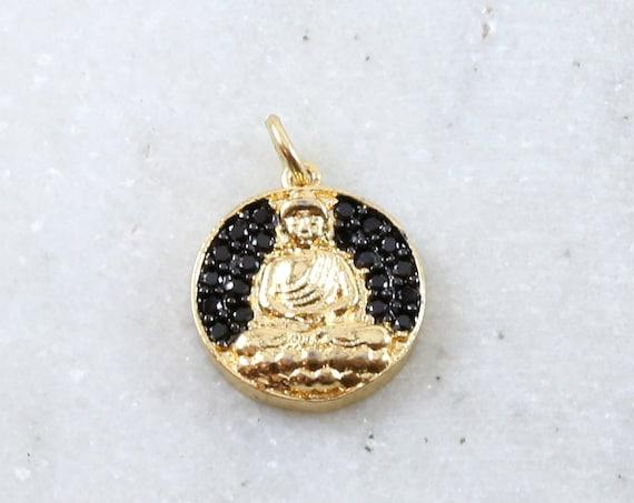 Unique Coin Black CZ Pave Buddha Ohm Rhodium Plated Gold Coin Yoga Buddhist Mantra Charm