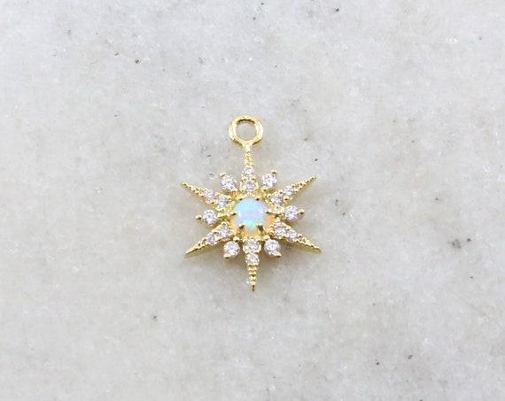 Gold CZ Opal 8 Point Star Cubic Zirconia Rhodium Plated Pave Charm Celestial Unique Charm