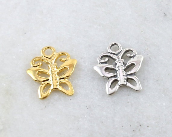 Cute Delicate Girly Sweet Butterfly Charm Nature Spring Inspirational Insect in Sterling Silver or Vermeil Gold