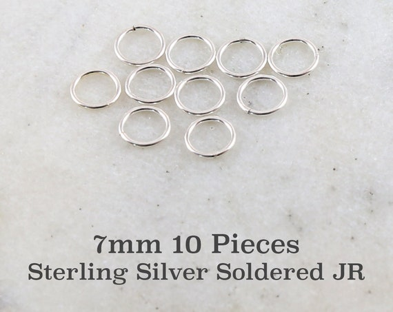 10 Pieces 7mm 19 Gauge Sterling Silver Soldered Closed Jump Rings Charm Links Jewelry Making Supplies Sterling Findings