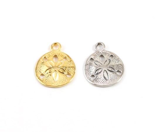Medium Sand Dollar Ocean Nautical Shell Charm Pendant in Sterling Silver or Vermeil Gold 12mm x 20mm
