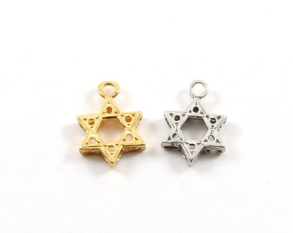 Thick Star of David 3D Charm Religious Jewish Pendant in Sterling Silver or Vermeil Gold