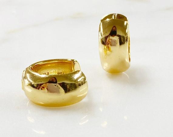 1 Pair Extra Thick Mini Hoop Earring 18k Gold Filled Huggie Hoops
