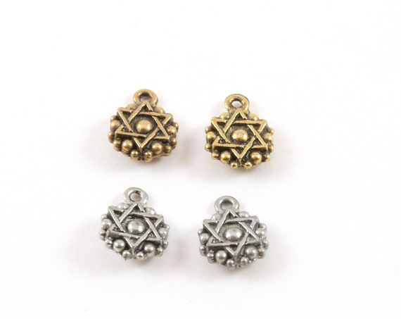 2 Pieces Pewter Tiny Small Round Coin Star of David Charm Religious Jewish Symbol 6mm