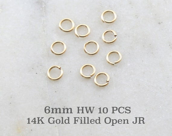 10 Pieces 6mm Heavy Weight 18 Gauge 14K Gold Filled Open Jump Rings Charm Links Jewelry Making Supplies Gold Findings