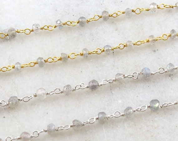 Dainty Labradorite Gemstone Rosary Beaded Wire Wrapped Chain Sterling Silver or Vermeil  / Sold by the Foot / Bulk Unfinished Chain /