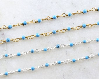 3 Feet Turquoise Rondelle Rosary Beaded Chain Blue Turquoise Bead Wire Wrapped 925 Sterling Silver Plated Jewelry Making Necklace Chain