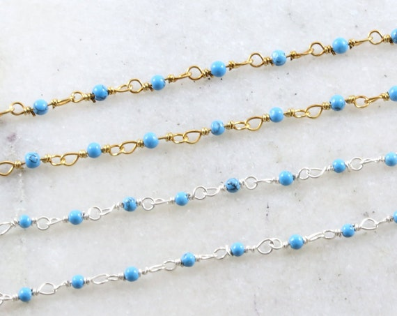 Tiny Turquoise Rosary Beaded Wire Wrapped Chain Sterling Silver or Vermeil  / Sold by the Foot / Bulk Unfinished Chain / December Birthstone