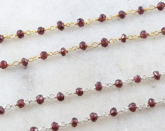 Dainty Garnet Gemstone Rosary Beaded Wire Wrapped Chain Sterling Silver or Vermeil  / Sold by the Foot / Bulk Unfinished Chain / January