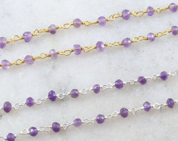 Dainty Amethyst Purple Gemstone Rosary Beaded Wire Wrapped Chain Sterling Silver or Vermeil  / Sold by the Foot / Bulk Unfinished Chain