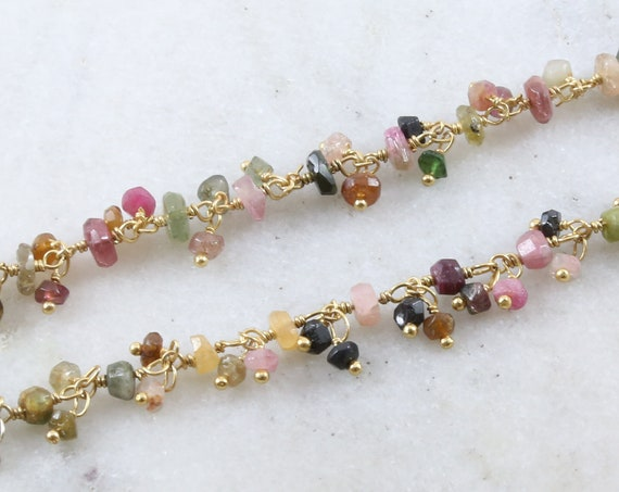 Faceted Dangle Watermelon Tourmaline Gemstone Rosary Beaded Wire Wrapped Chain Gold Vermeil  / Sold by the Foot / Bulk Unfinished Chain