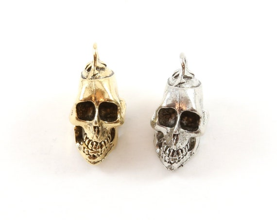 Large Pewter Open Jaw Skull Head Pendant Halloween Skeletons Day of the Dead Charm in Antique Gold, Antique Silver