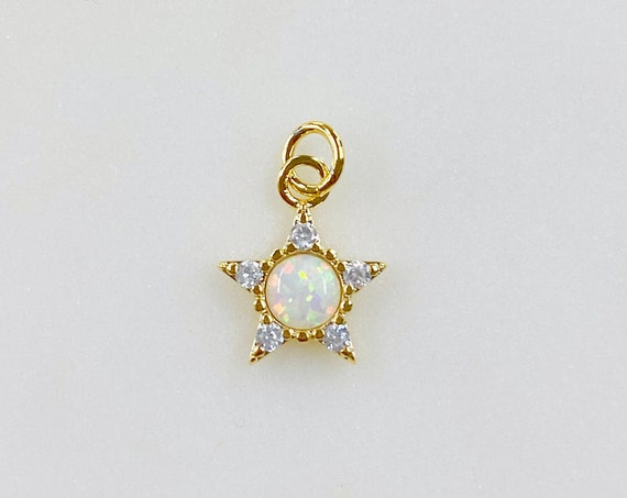 1 Piece Small Star Celestial Opal Gold Charm, Gold Plated Brass Cubic Zirconia Lab Created Opal Drop Charm