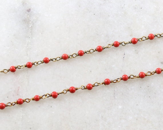 Dainty Vermeil Gold Tiny Red Coral Beaded Wire Wrapped Chain / Sold by the Foot / Bulk Unfinished Chain / Green Gemstone Chain