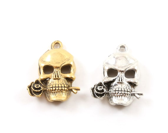 Pewter Rose in Mouth Punk Pirate Skull Charm Pendant Halloween Skeletons Day of the Dead Charm in Antique Gold, Antique Silver